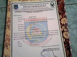 Contoh sertifikat PIRT
