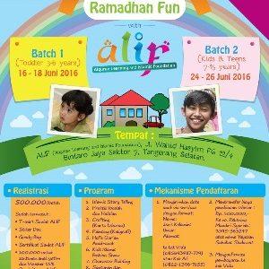 """Isi Waktu Ramadhan Buah Hati Anda dengan Mengikuti Sanlat ALIF Pesantren Kilat """"Ramadhan Fun With ALIF"""" di Tangerang"""
