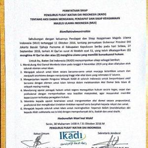 Pernyataan Sikap Ikatan Dai Indonesia (IKADI) Terkait Aksi Damai 4 November 2016