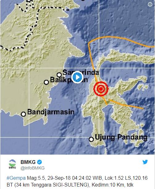 Gempa 5,5 Skala Richter Guncang Sigi Sulawesi Tengah