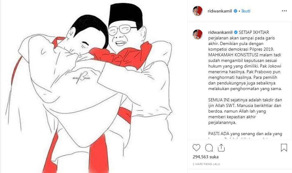 Momen Jokowi-Prabowo berpelukan (dok. Instagram Prabowo)