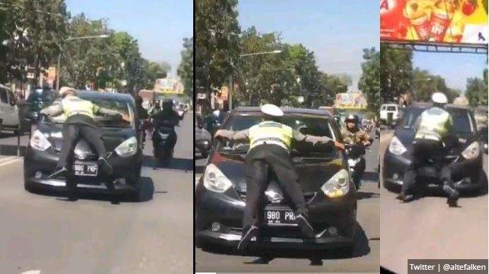 Viral! Brigadir Natan Nempel Pada Kap City Car
