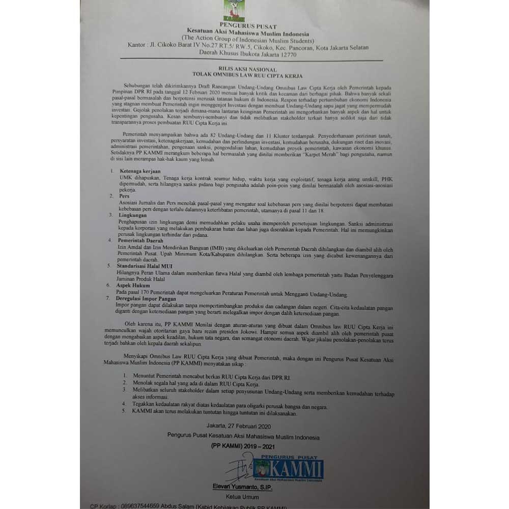 Berpotensi Sengsarakan Rakyat, PP KAMMI Tolak Omnibus Law RUU Cipta Kerja