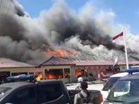 Kebakaran Hebat Di Polres Lampung Selatan diperkirakan Karena Korsleting Listrik