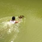 Lentera Sesaji, Seorang Warga Berenang di Kawah Gunung Kelud