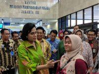 Menteri Keuangan Sri Mulyani Meninjau Kanwil Ditjen Perbendaharaan Jakarta