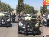 Aksi Brigadir Natan Membuat Gempar Jagat Raya Karena Terpaksa Nempel Pada Kap City Car